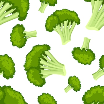 Seamless pattern with broccoli  style fresh food useful vegetables  illustration on white background web site page and mobile app