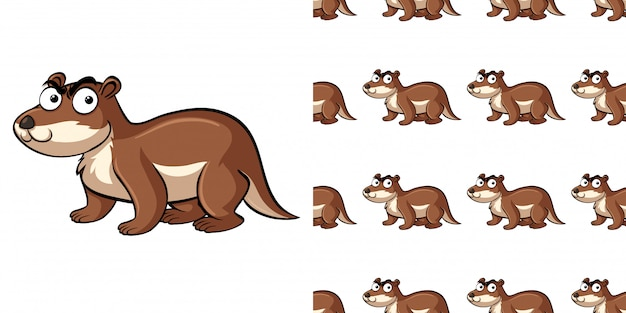 Seamless pattern with brown beaver
