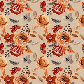 茶色の花の水彩画とのシームレスなパターン