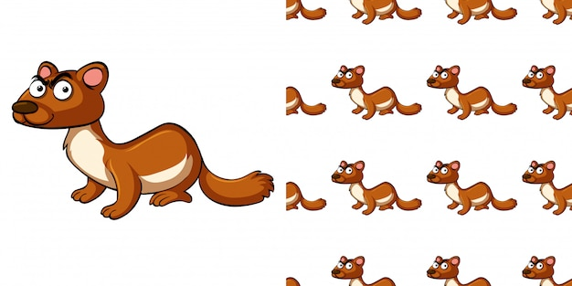 Seamless pattern with brown otter
