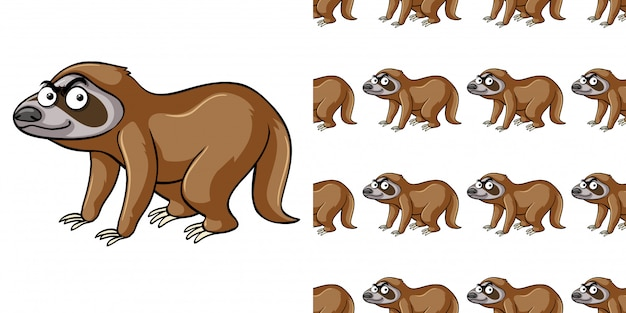 Seamless pattern with brown sloth
