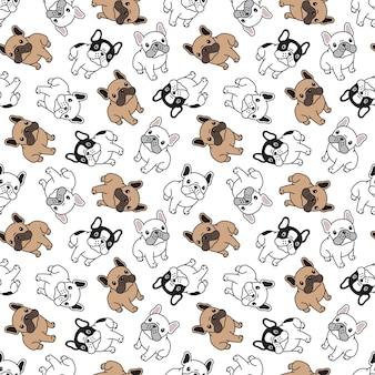 Seamless pattern with bulldog cartoon