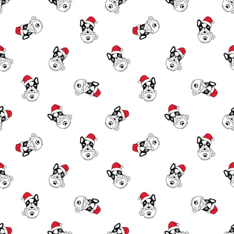 Seamless pattern with bulldog in coffee cup