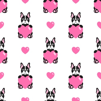 Seamless pattern with bulldogs and hearts