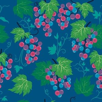 ブドウの房とのシームレスなパターン。ベクトルグラフィックス。