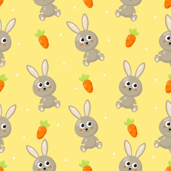Seamless pattern with bunny and carrot