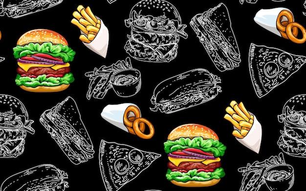 Бесшовный фон с гамбургерами и фаст-фудом