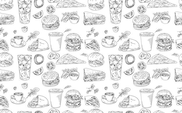 햄버거와 패스트 푸드와 함께 완벽 한 패턴