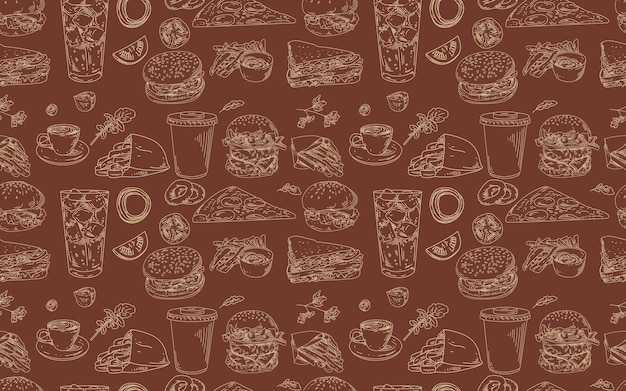 Seamless pattern with burgers and fast food