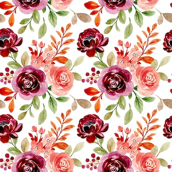 Seamless pattern with burgundy peach floral watercolor