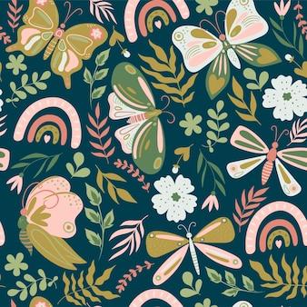 나비와 꽃으로 완벽 한 패턴입니다. 벡터 그래픽입니다.