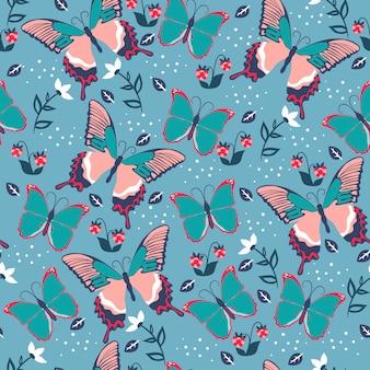 蝶と花とのシームレスなパターン。