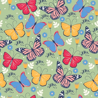 Бесшовный фон с бабочками и цветами.