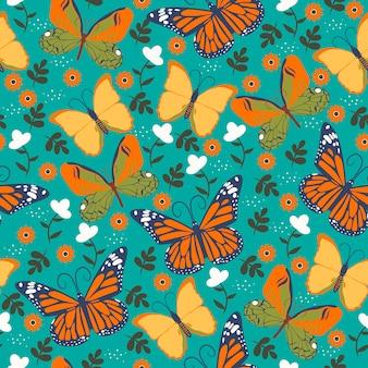蝶と花とのシームレスなパターン