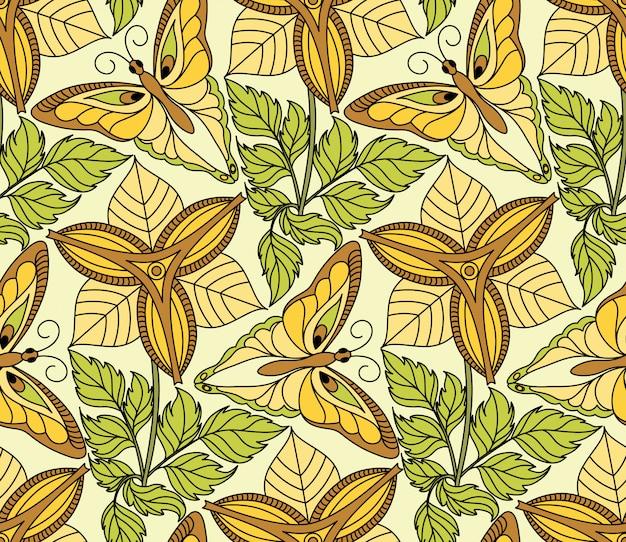 蝶と花のシームレスパターン