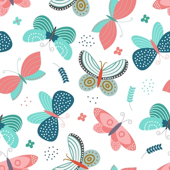 Seamless pattern with butterflies concept