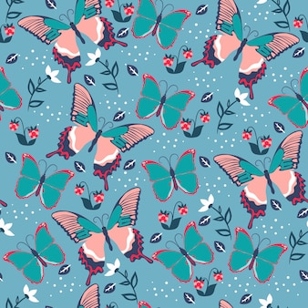 Seamless pattern with butterflies and flowers.