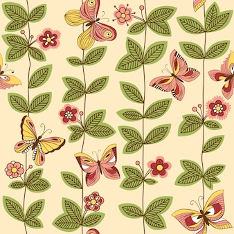 花の周りを飛んでいる蝶とのシームレスなパターン