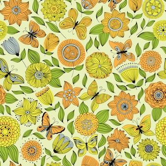 花の上を飛んで蝶とのシームレスなパターン