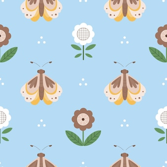 Seamless pattern with butterflies and folk flowers. great for fabric, textile. vector illustration