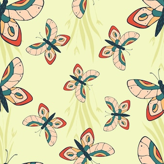 노란색 배경에 나비와 함께 완벽 한 패턴