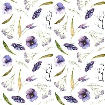 蝶のパンジーとノコギリソウの水彩画のハロウィーンとのシームレスなパターン