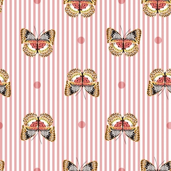 Seamless pattern with butterflies on sweet pink with white stripe