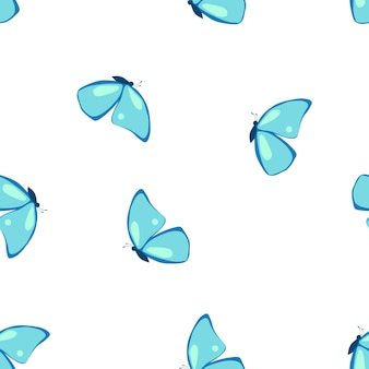蝶とのシームレスなパターンフラットスタイルのベクトル図