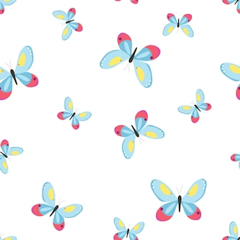 Бесшовный фон с бабочками векторные иллюстрации в плоский