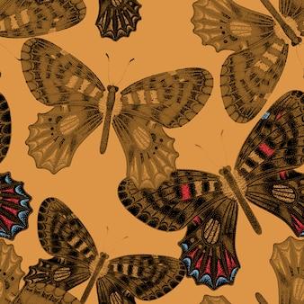 Seamless pattern with butterflies.