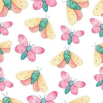 Бесшовный фон с бабочками