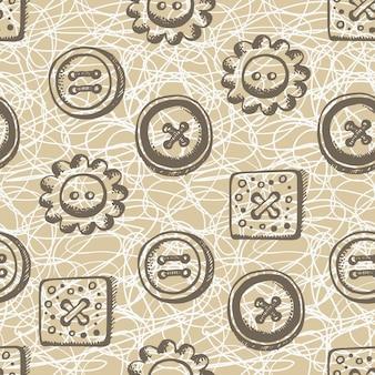 レトロなスタイルのボタンとのシームレスなパターン
