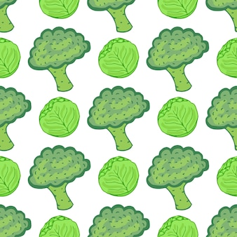Seamless pattern with cabbage and broccoli. vector illustration with hand drawn healthy vegetable mix. perfect for packaging, wrapping paper design