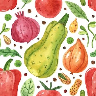 キャベツ、タマネギ、緑、エンドウ豆、豆、ピーマン、葉、トマトとのシームレスなパターン。水彩風
