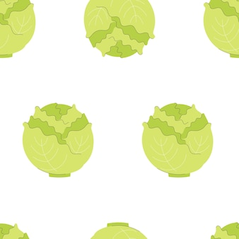 Seamless pattern with cabbage. vegetables, vitamins, vegetarianism. illustration in flat style on white background.
