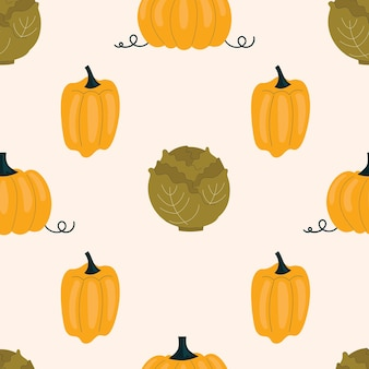 Seamless pattern with cabbage and yellow peppers, paprika. vegetables, vitamins, vegetarianism. illustration in flat style on light background.
