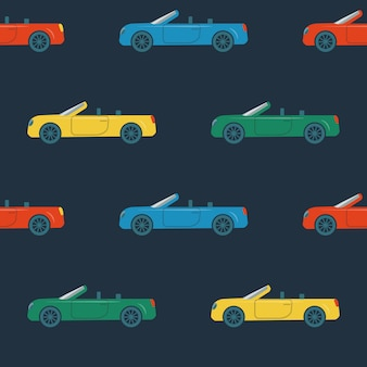 Seamless pattern with cabriolet cars