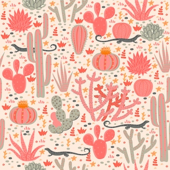 Seamless pattern with cacti and lizards.