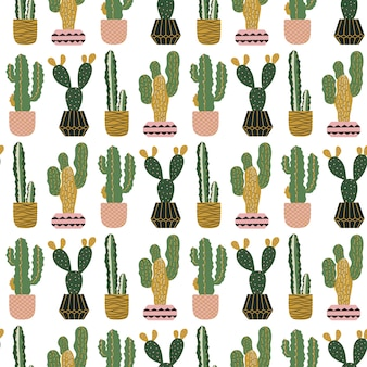 Seamless pattern with cacti in pots.