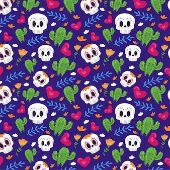 Seamless pattern with cacti and skulls