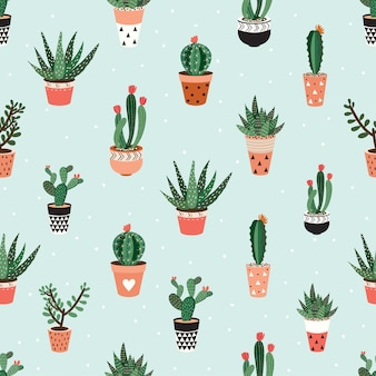 Seamless pattern with cacti and succulents.