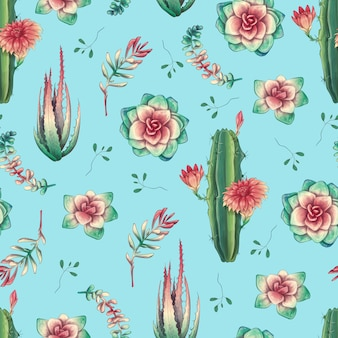 Seamless pattern with cacti and succulents