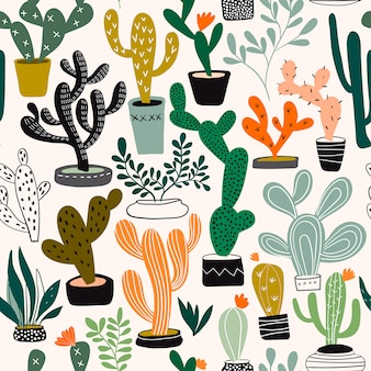 Seamless pattern with cacti and tropical plants