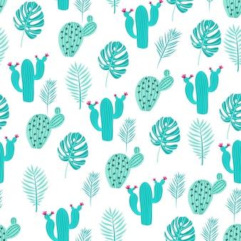 선인장과 꽃이 크림색 바탕에 녹색과 분홍색으로 된 매끄러운 패턴입니다.