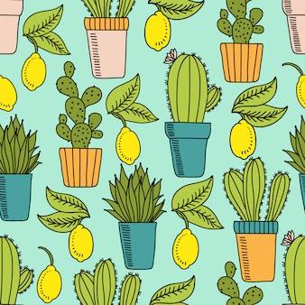 サボテンとレモンのシームレスパターン