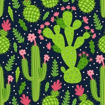 선인장과 succulents와 원활한 패턴
