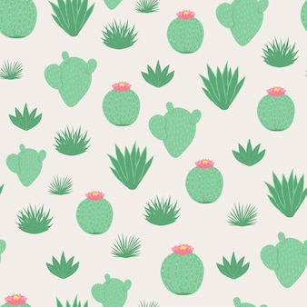 Seamless pattern with cactus in cartoon style.