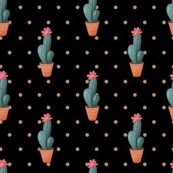 Seamless pattern with cactus on dark background