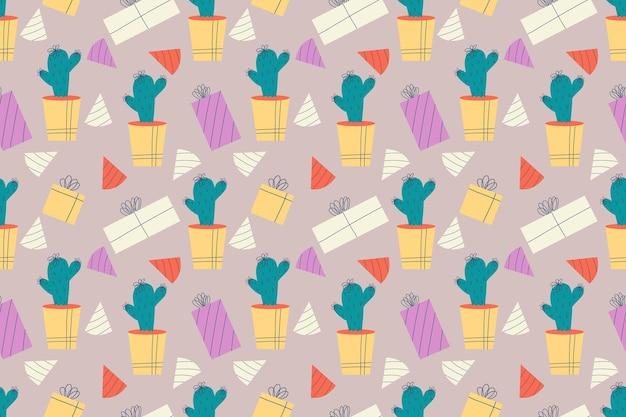 가시가 있는 냄비 국내 식물에 선인장 선물과 생일 모자 선인장이 있는 매끄러운 패턴