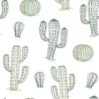 サボテンとのシームレスなパターン。手描きの砂漠の植物サボテン繰り返しテクスチャ